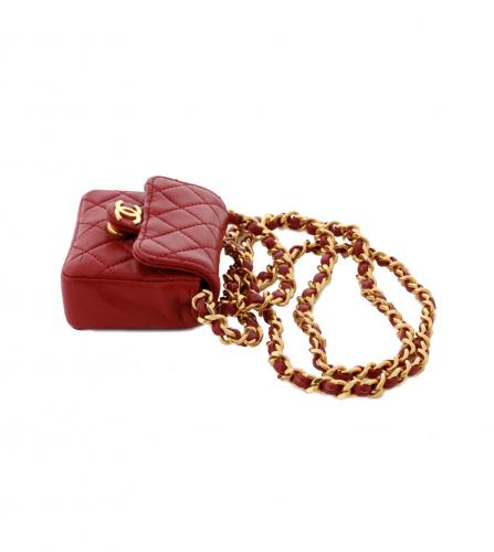 CHANEL RED NANO FLAP BAG