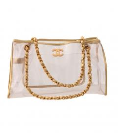 CHANEL GOLD VINYL FLAP BAG