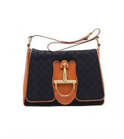 GUCCI VINTAGE GG MONOGRAM HORSEBIT SHOULDER