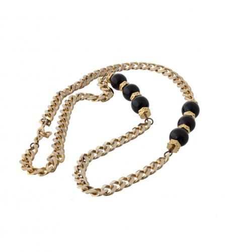 YSL BLACK BALLS CHAIN LONG NECKLACE