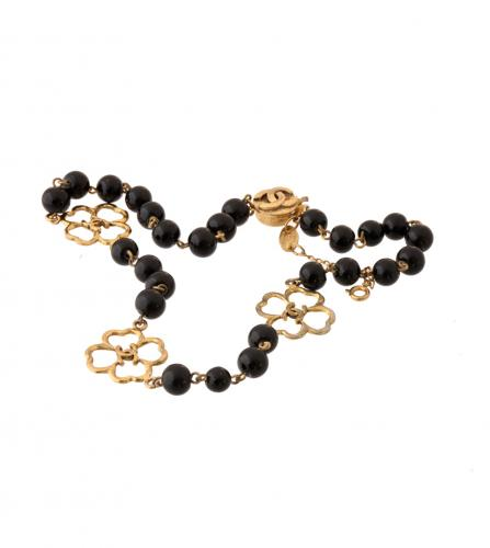 CHANEL BLACK BALLS & CLOVER NECKLACE