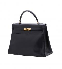 HERMES VINTAGE KELLY 32 NAVY