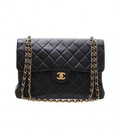 CHANEL BLACK DOUBLE FACE FLAP BAG 30
