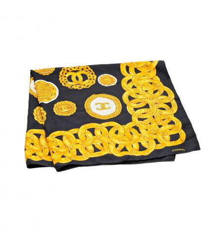 CHANEL SILK SCARF BLACK / COINS