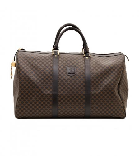 CELINE BROWN BLACK DUFFLE BOSTON BAG
