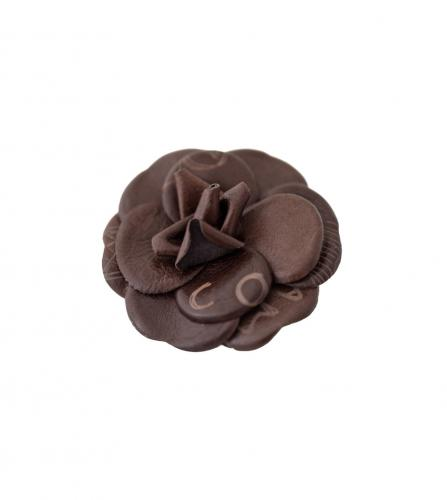 CHANEL BROWN LEATHER CAMELIAS BROOCH