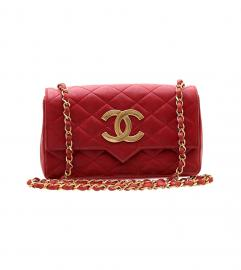 CHANEL VINTAGE BIG CC LOGO RED SHOULDER BAG