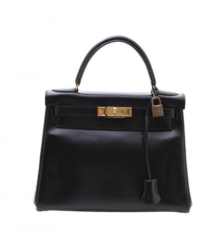 HERMES BLACK BOX CALF KELLY 28