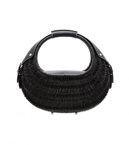 FERRAGAMO BLACK RATTAN BAG