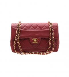 CHANEL VINTAGE RED SINGLE FLAP SHOULDER BAG