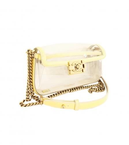 CHANEL VINYL BOY YELLOW SHOULDER BAG