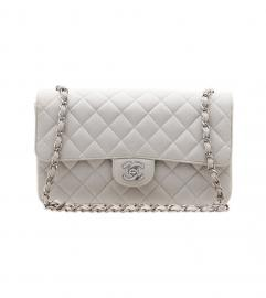 CHANEL COTTON LIGHTGRAY 2.55 SILVER CHAIN SHOULDER