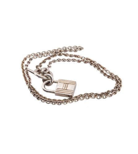 HERMES KELLY PADLOCK CHARM NECKLACE