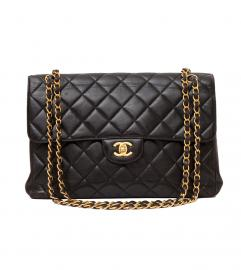 CHANEL MAXI BLACK FLAP BAG 30