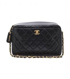 CHANEL BLACK CAMERA BAG SHOULDER