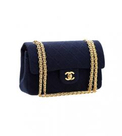 CHANEL 2.55 NAVY JERSY BIJOUX CHAIN SHOULDER BAG