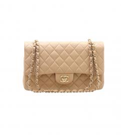 CHANEL 2.55 BEIGE DOUBLE FLAP BAG