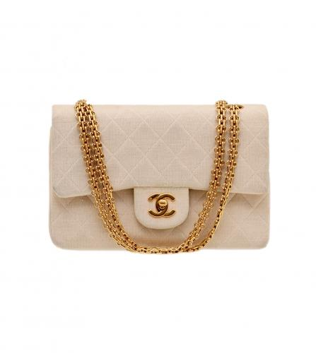 CHANEL BEIGE JERSEY CLASSIC FLAP BAG