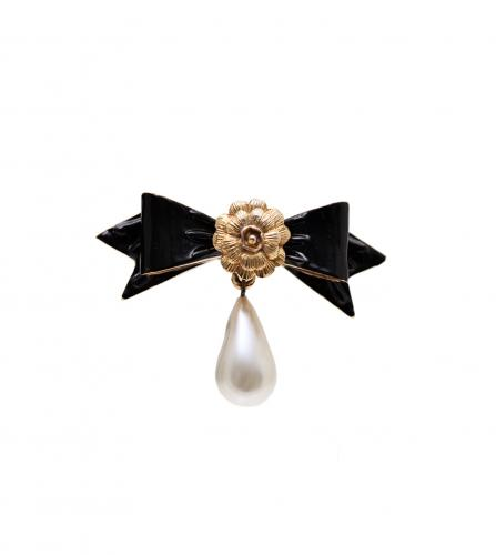 CHANEL RIBBON CAMELIA BROOCH