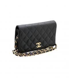 CHANEL BLACK CLASSIC CLUTCH SHOULDER