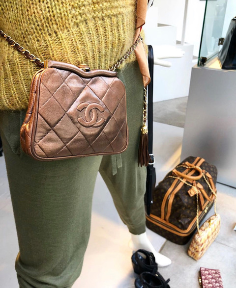 Wear a rare Chanel Belt-Bag Bronze color