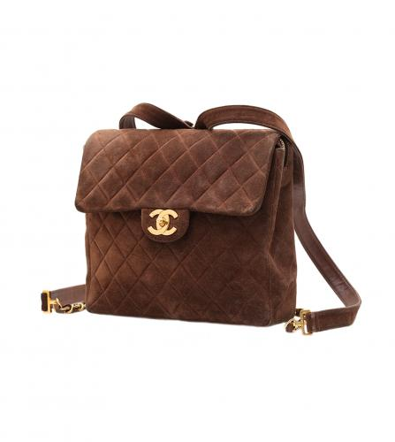 CHANEL VINTAGE BROWN SUEDE BACKPACK