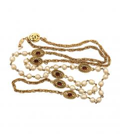 CHANEL PEARL w. Gripoix RED GLASSES NECKLACE