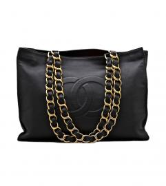 CHANEL VINTAGE SHOPPING  BLACK XL TOTE