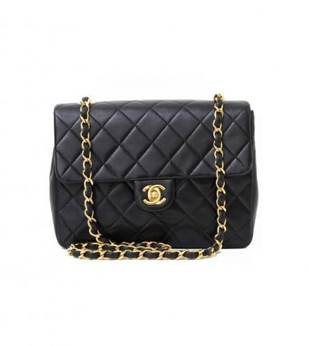 CHANEL BLACK FLAP BAG 20