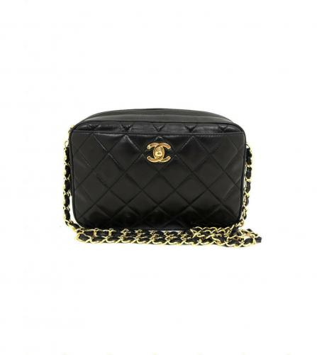 CHANEL BLACK CAMERA BAG