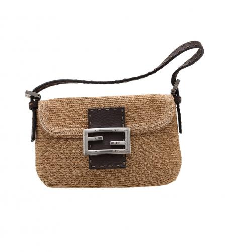 FENDI STRAW BAGUETTE BAG