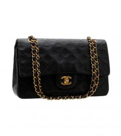 CHANEL 2.55 25CM BLACK SHOULDER