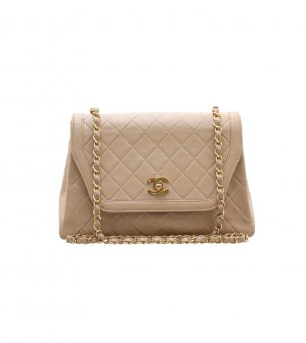 CHANEL VINTAGE SINGLE FLAP BEIGE SHOULDER