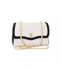 CHANEL NAVY TRIMED WHITE SHOULDER