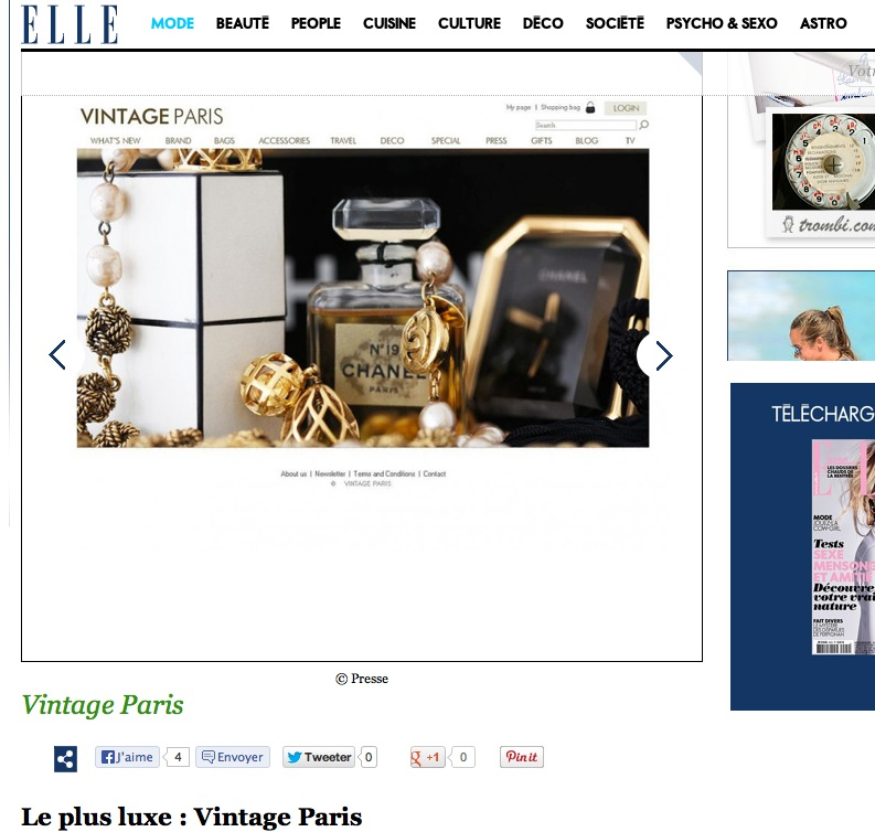ELLE magazine LOVE VINTAGE PARIS