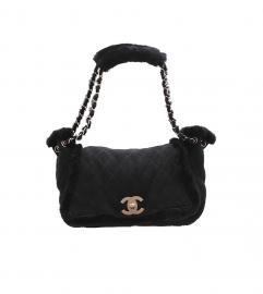 CHANEL VINTAGE BLACK MOUTON BAG