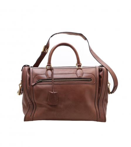 GUCCI VINTAGE BROWN DUFFLE TRAVEL BAG