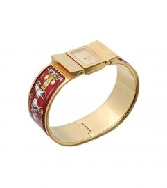 HERMES LOQUET RED BANGLE WATCH