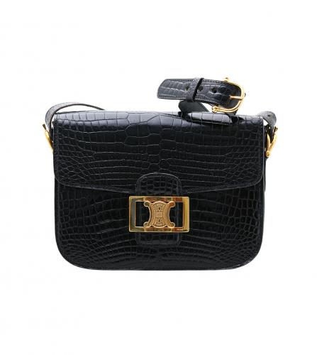 CELINE BLACK CROCODILE SHOULDER