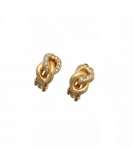DIOR VINTAGE GOLD&RHINESTONE EARRINGS