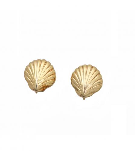 DIOR VINTAGE GOLD SHELL EARRINGS