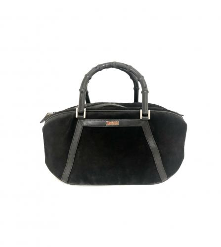 GUCCI BAMBOO BLACK MINI BOSTON BAG