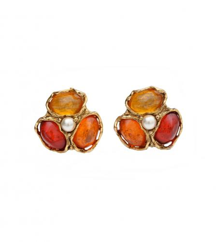 YSL FLOWER GLASSES CLIPED EARRINGS