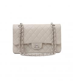 CHANEL CLASSIC LIGHT GRAY SHOULDER