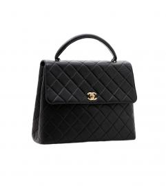 CHANEL BLACK FLAP BAG WITH TOP HANDLE