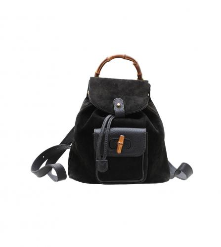 GUCCI VINTAGE BAMBOO BLACK SUEDE BACKPACK