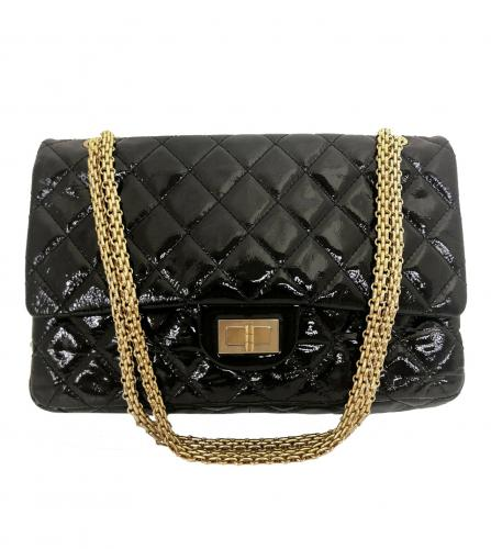 CHANEL BLACK PATENT 2.55 MAXI SHOULDER BAG
