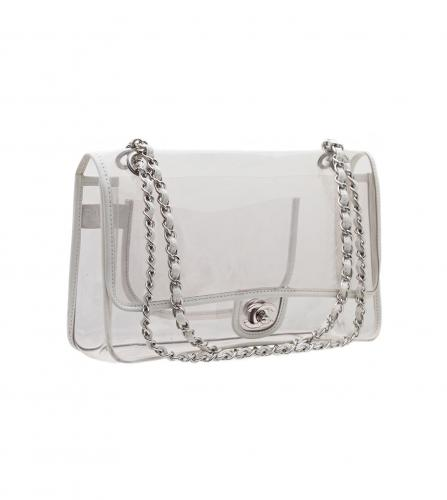 CHANEL WHITE TRIMMED TRANSPARANT SILVER CHAIN BAG