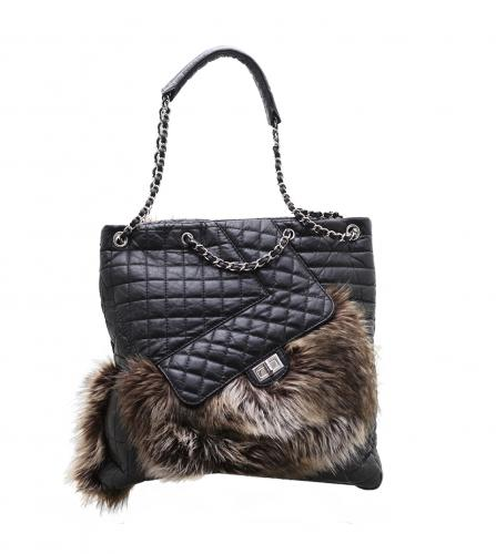 CHANEL 2.55 pocket fur tote 2way bag