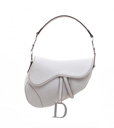 DIOR VINTAGE WHITE SADDLE LEATHER BAG